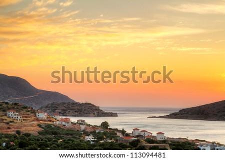 Sunrise at Mirabello Bay on Crete, Greece - stock photo