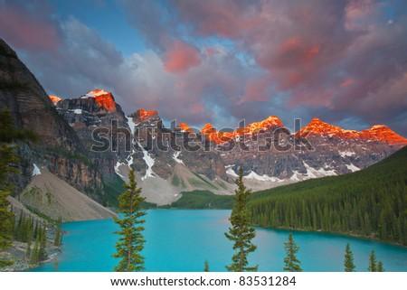 Sunrise at Moraine Lake,  Banff National Park, Alberta, Canada - stock photo