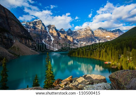 Sunrise at Moraine lake with in the valley of ten peaks, Banff national park, alberta, canada - stock photo