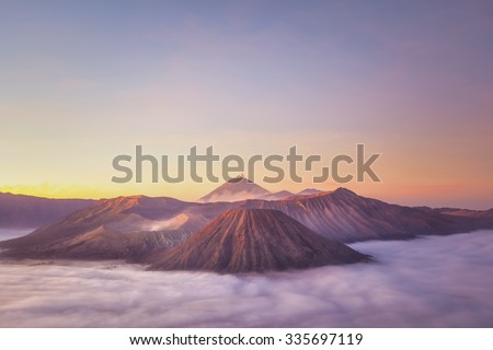 Sunrise at Mount Bromo volcano, the magnificent view of Mt. Bromo located in Bromo Tengger Semeru National Park, East Java, Indonesia. - stock photo