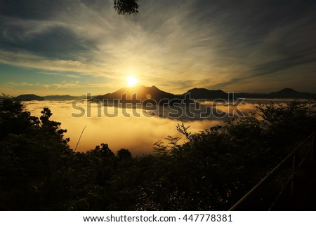 Sunrise at Phu Tok mountain, Chiang Khan, Loei province, Unseen in Thailand