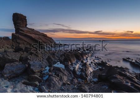 Sunrise at Playa de Portizuelo, Asturias, Spain - stock photo