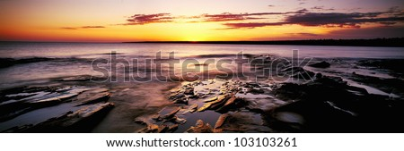 Sunrise at Porcupine Mountain State Park, Lake Superior, Michigan - stock photo
