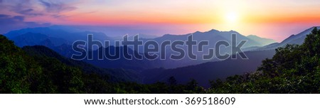 Sunrise at Seoraksan National Park, The best of Mountain in South Korea. Panorama landscape. - stock photo