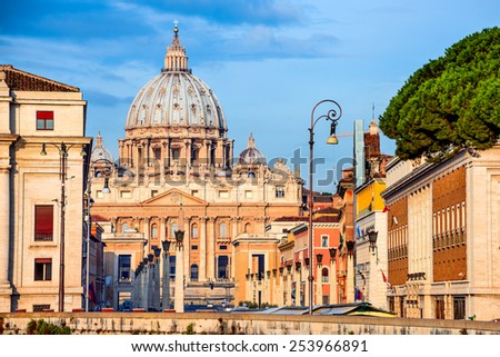 Sunrise at St. Peter Basilica from Vatican, main religious Catholic Church, Holy See and Pope residence. Italy landmark. - stock photo