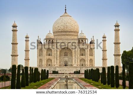 Sunrise at Taj Mahal - stock photo