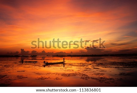 Sunrise at Tale noi lake, Thailand - stock photo