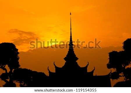 Sunrise at temple of Bangkok, Thailand - stock photo