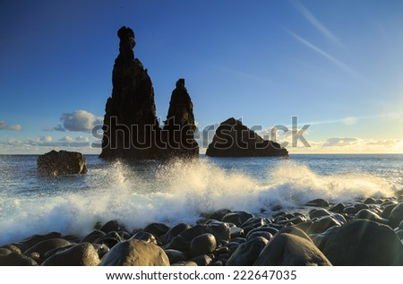 Sunrise at the Atlantic coast of Madeira, at Ribeira da Janela. - stock photo