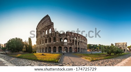 Sunrise at the Coliseum, Rome, Italy. - stock photo