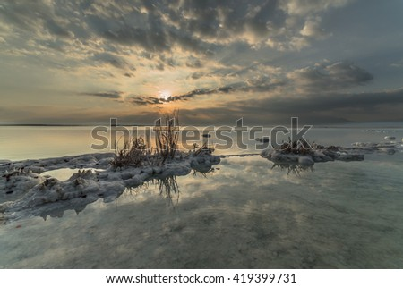 Sunrise at the dead sea , the lowest point on earth