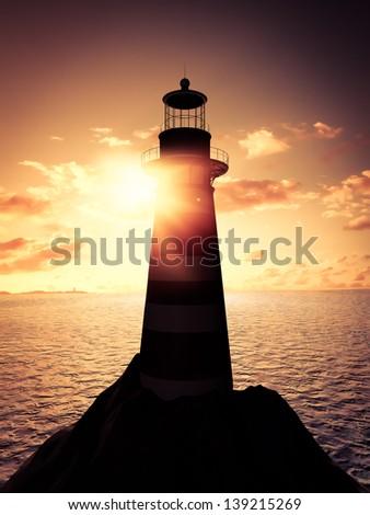 Sunrise at the lighthouse - stock photo