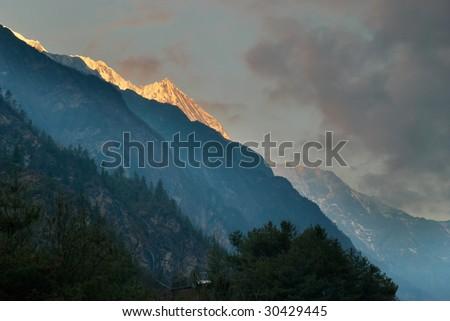 Sunrise at the mountain Annapurna South, Nepal - stock photo