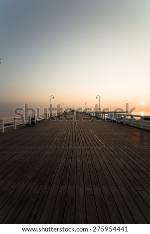 Sunrise at the pier in Sopot, Poland, Black and White,