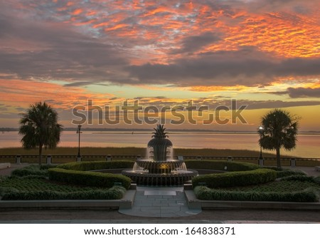Sunrise at the Pineapple Fountain - stock photo