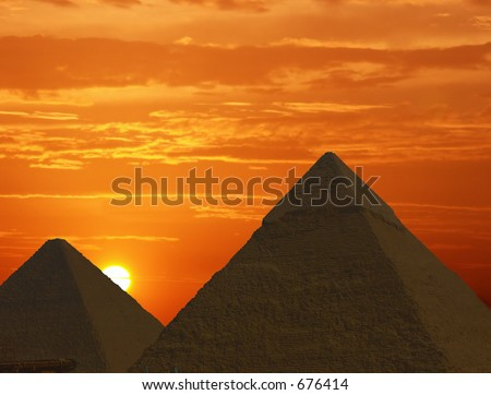 Sunrise at the Pyramids - stock photo