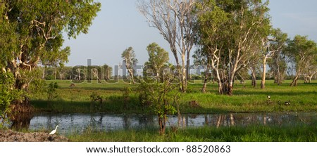 Sunrise at the Yellow Water billabong at Kakadu National Park, Australia - stock photo