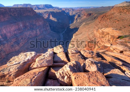 Sunrise at Toroweap Point, in Grand Canyon National Park, with Colorado River three quaters of a mile below. - stock photo