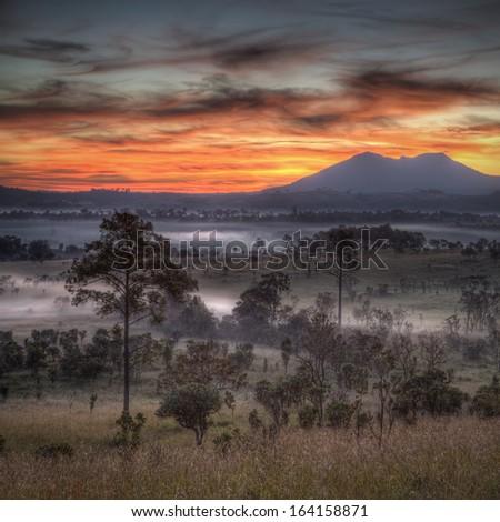 Sunrise at Tung Salang Luang National Park in Phetchabun, Thailand  - stock photo