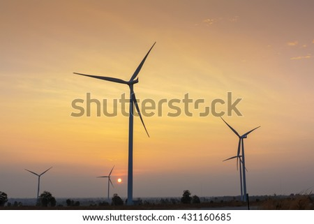 Sunrise at wind generator farm in Thailand - stock photo
