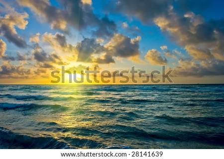 Sunrise, Atlantic ocean coast, FL, USA - stock photo