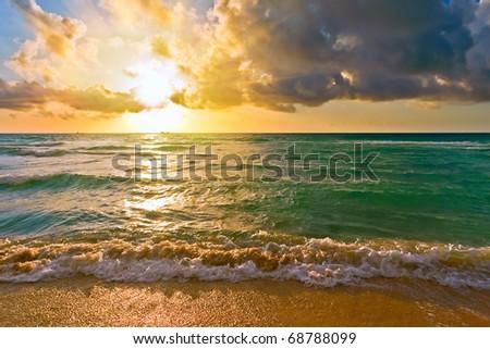 Sunrise, Atlantic ocean, FL, USA - stock photo