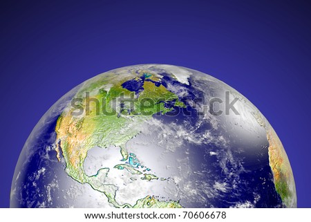 Sunrise behind the earth with rim light. Data source: NASA - stock photo