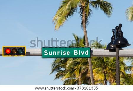 Sunrise Boulevard SIgn - stock photo
