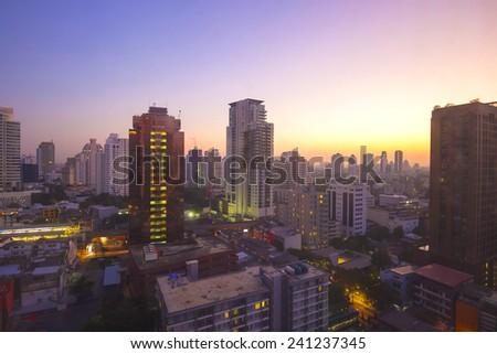 Sunrise cityscape view of Bangkok at dawn  - stock photo