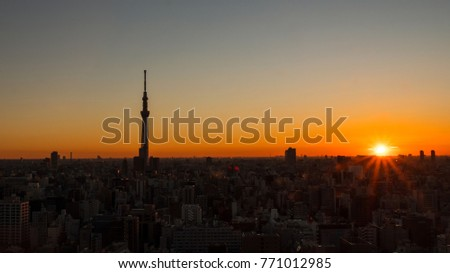 Sunrise cityscape view with modern building in the morning at Tokyo, Japan