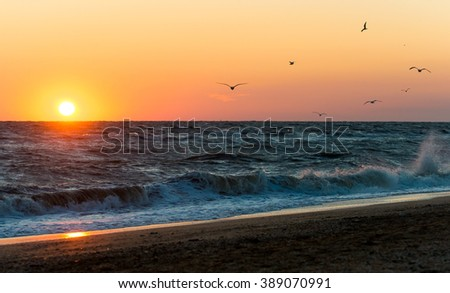 Sunrise during a storm on the Sea of Azov - stock photo