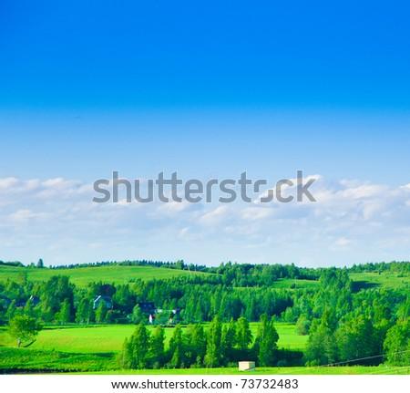 Sunrise Field Clouds - stock photo