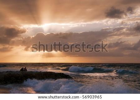 Sunrise Fishing - stock photo