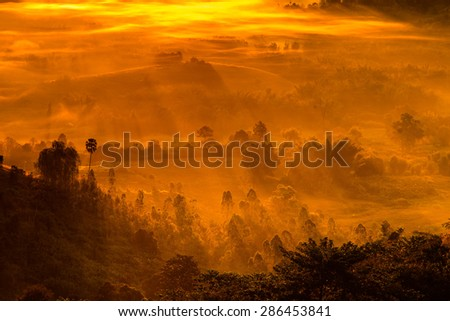 Sunrise, Fog and ray on the hill - stock photo