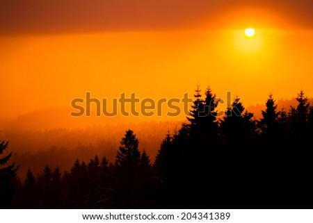sunrise fog rain - stock photo