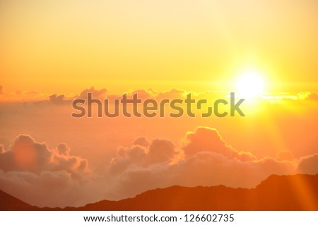 Sunrise from Haleakala Crater in Maui, Hawaii - stock photo