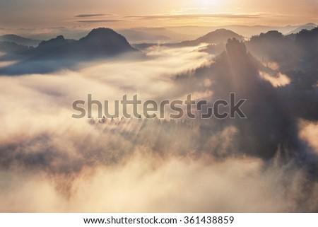 sunrise from Kleiner Winterberg, Bohemian Switzerland - stock photo