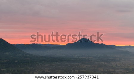 Sunrise from mountain in Loei province, Thailand - stock photo