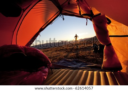 Sunrise from the Tent - stock photo