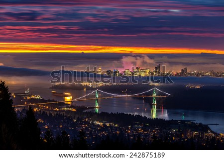 Sunrise from West Vancouver - stock photo
