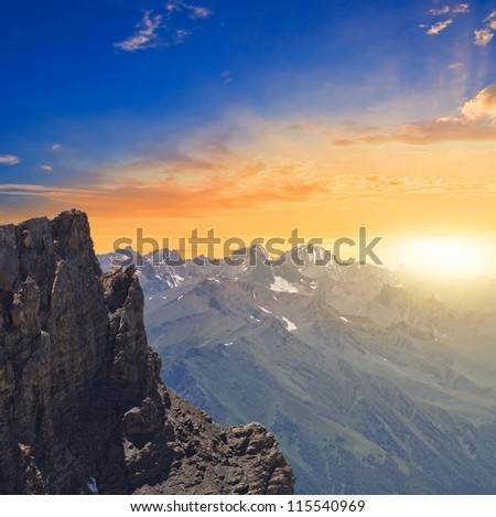 sunrise in a mountains - stock photo