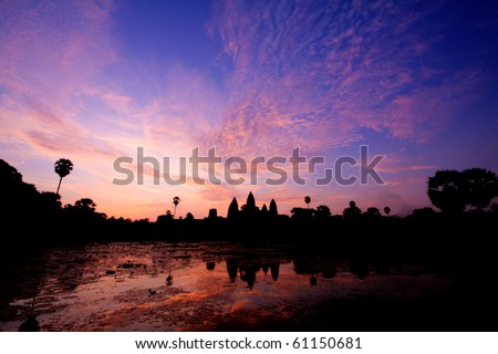 Sunrise in Angkor Wat temple complex in Siem Reap, Cambodia - stock photo