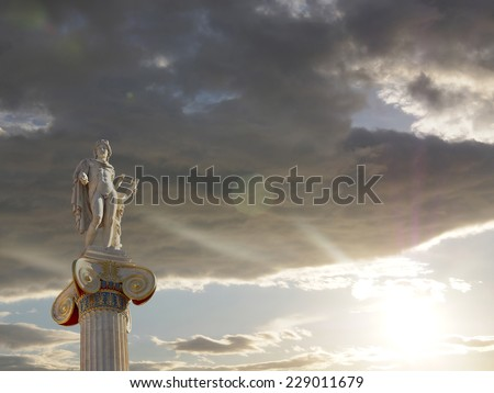 sunrise in Athens Greece, Apollo statue, the god of poetry and music - stock photo