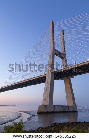 Sunrise in Atlantic - Vasco da Gama bridge (Ponte Vasco de Gama), Lisbon-Portugal