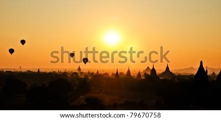 Sunrise in Bagan Burma - stock photo