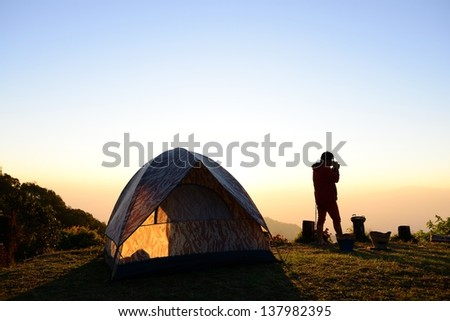 Sunrise in camping day - stock photo