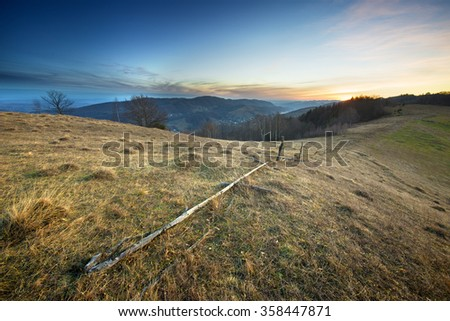 sunrise in Carpathian mountain valleys autumn landscape in the Carpathian mountains europe - stock photo