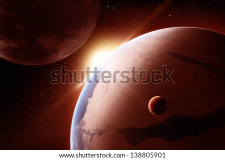 "Sunrise in deep outer space. ""Elements of this image furnished by NASA"" - stock photo"