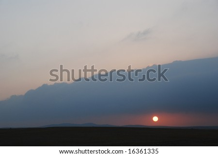 Sunrise in desert Arava , Israel - stock photo