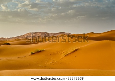Sunrise in Erg Chebbi, Merzouga, Morocco - stock photo